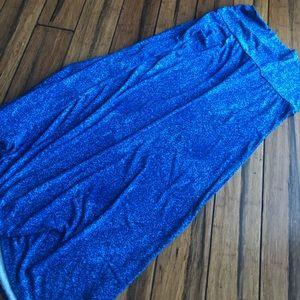 Blue crackle splatter maxi skirt Lularoe